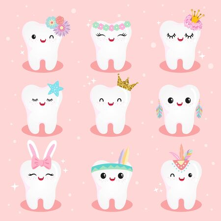Cute girls Tooth Character Set in many costume