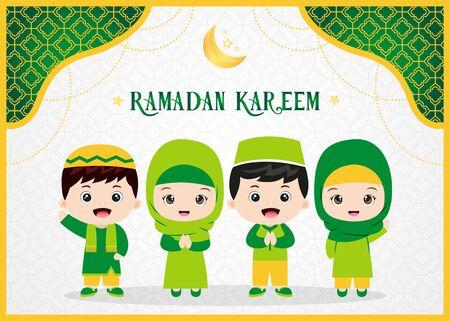 Ramadan Kareem greeting card with muslim kids Vetores