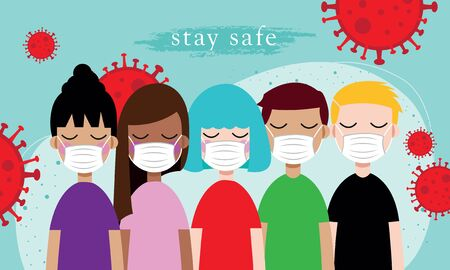 beware of covid 19 poster with many people wearing mask to self prevention. used for poster, landing page and other. stay safe poster
