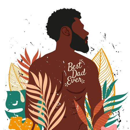 Best dad ever illustration with black man