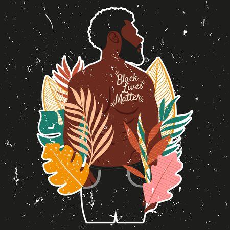 Black Lives Matter sticker with black man illustration