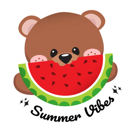 Cute flat style template design for summer vacation with cute bear eating watermelon
