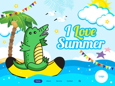 Summer theme banner. Vector illustration of a cute funny crocodile ride on a banana boat. summer water fun. Cute vector illustration concept for website and mobile website development