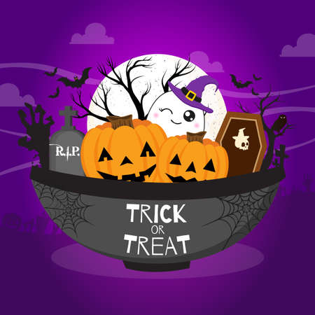 Trick or treat illustration with bowl of halloween vibes