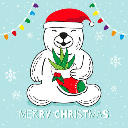 Polar Bear wear Santa hat and bring aloe vera in red sock, Merry Christmas cartoon vector illustration