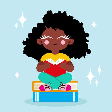 A happy cartoon little black girl enjoying reading a book