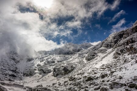 Winter day with beautiful sky at the Rila mountain in Bulgaria, Maliovica. 写真素材 - 134823027