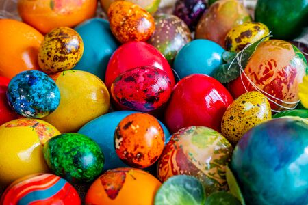 Traditional handmade easter eggs. Painted with different paints and by different ways.