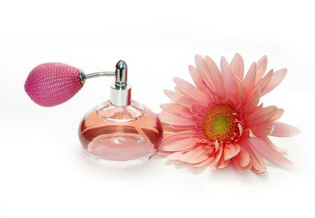 pink perfume and beautiful flower photo