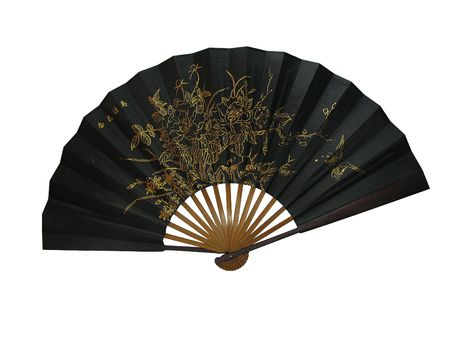 Asian bamboo a black fan  Stock Photo - 4819421