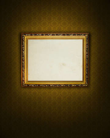 Grungy antique wallpaper background with frame Stock Photo - 4939608