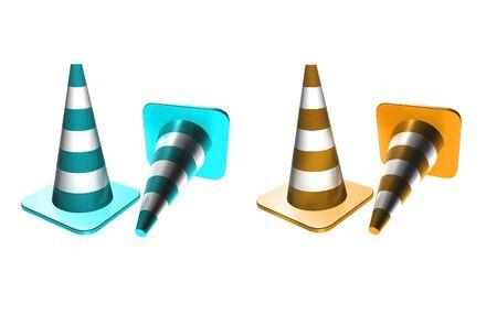 Traffic cones blue and orange Stock Photo - 4939555