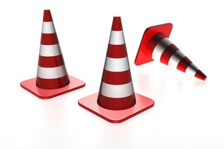 Three traffic cones Stock Photo - 4939552