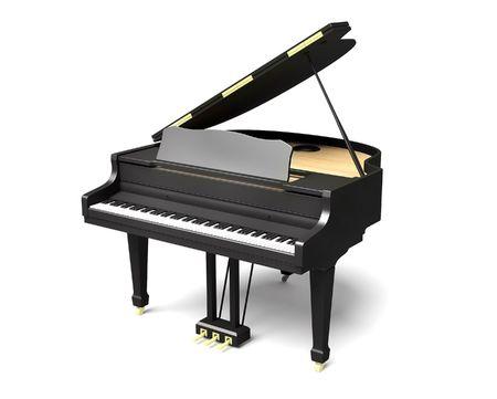 a grand piano: black piano Stock Photo