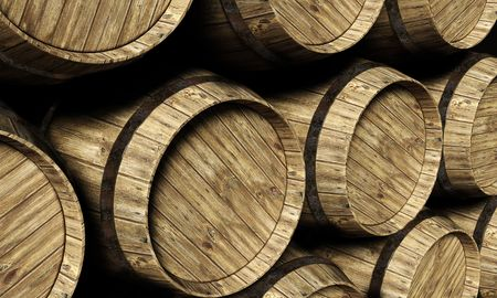 beer barrel: wine barrel in a cellar Stock Photo