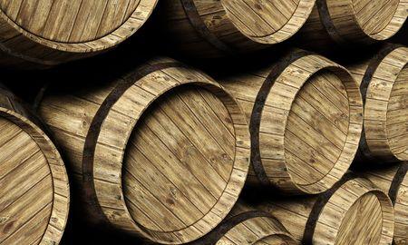 wine barrel in a cellar Stock Photo