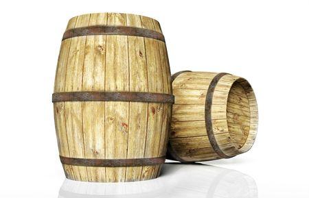 two wine barrel
