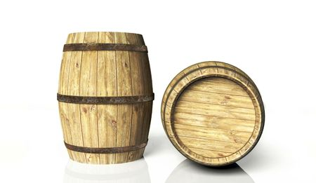 Two wine barrels Stock Photo