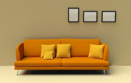 orange sofa Stock Photo