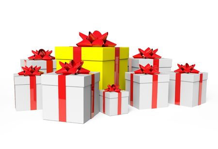 group white gifts and one yellow Stock Photo - 6070394