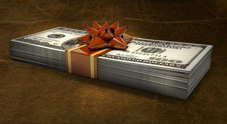 money gift on a grunge background