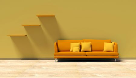 traditional living room: Orange sofa in the interier