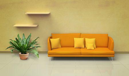 Orange sofa in the room