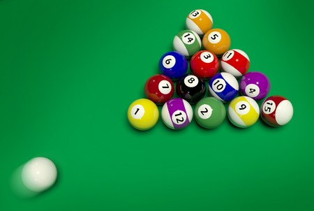 Billiards on a green table photo
