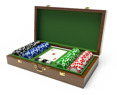 Box for a gambling chips Stock Photo