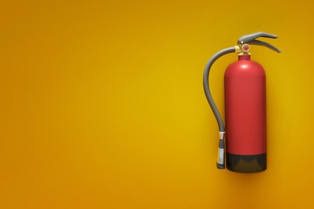 fire hydrant: Extinguisher on the orange wall