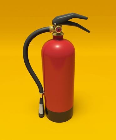 Extinguisher on the orange wall photo