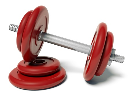 Red barbell photo
