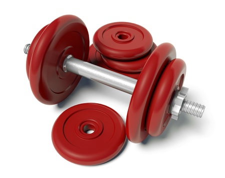 Red dumbbell photo