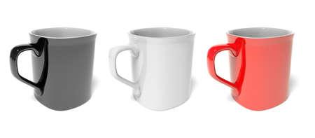 three colored: Three colored mug Stock Photo