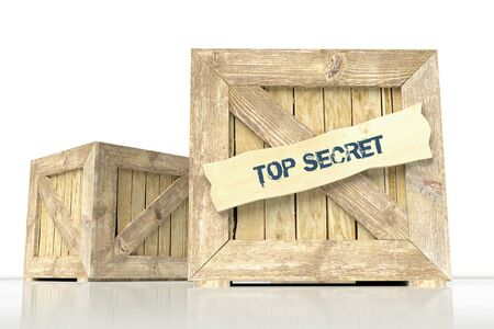 Wooden box and label top secret