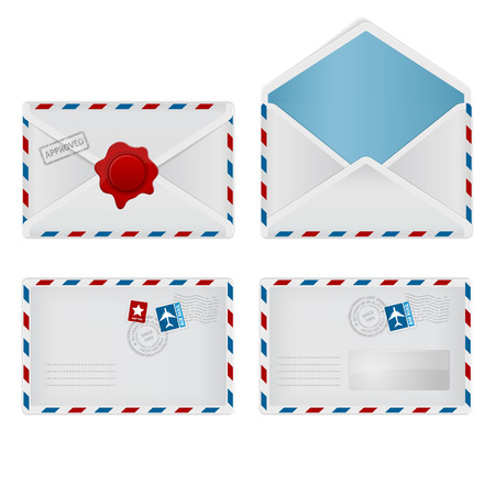 sealing: Set envelope with wafer, stamp, opened and with transparent Illustration