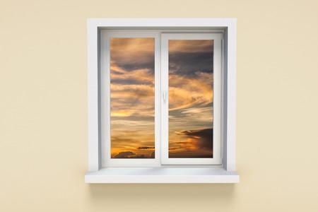 ventanas abiertas: Puesta de sol en la ventana Foto de archivo