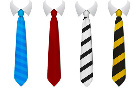Colored tie, four version on isolated background Illustration