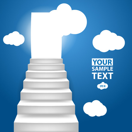 Staircase to up with clouscape, conceptual background to motivation. Vector illustration for you design. Illustration