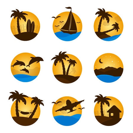 Set tropical flat circle tropical icon, palm, dolphine, sailboat, plane. Vector element for you design. Vector