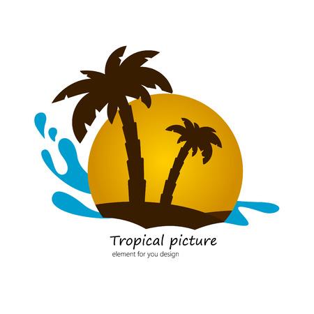 Sunset landscape vector: cọ hình phẳng trên đảo, hoàng hôn cảnh quan. yếu tố vector cho bạn thiết kế.