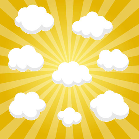 beautifull: Flat clouds on yellow sky and beautifull shadow. Vector elements for you design. Illustration