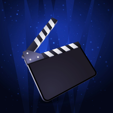 Clapper board blank movie production on white background. Vector illustration.