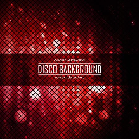 lighten: Red fire disco lighten background. Magic effect, fire. Vector illustration.