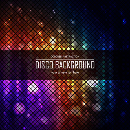 lighten: Colorful disco lighten background. Magic effect, fire. Vector illustration.
