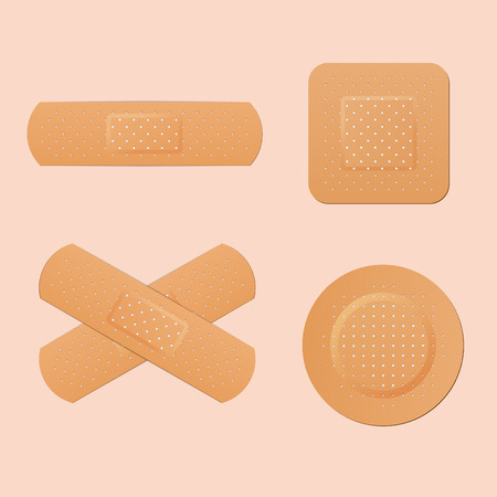 adhesive: Medical adhesive plaster, first protection for cut skin. Vector illustration. Illustration