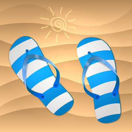 Sandal shoes on the sand. Vector illustration. Vector