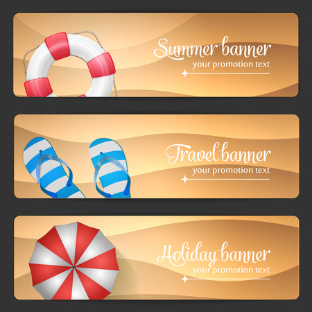 tropical beach panoramic: Set of summer vector banner Illustration