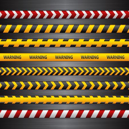 Police line, danger tapes on the dark metall background. Vector illustration.