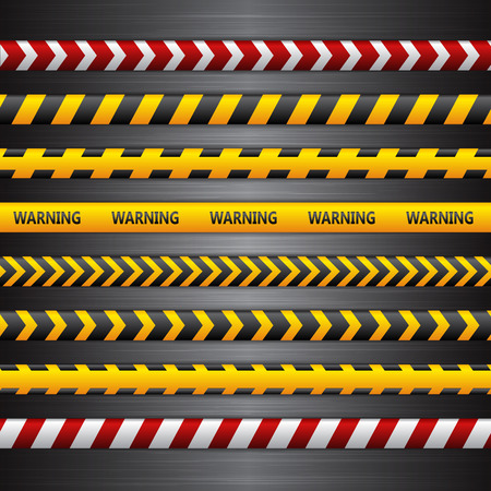 yellow line: Police line, danger tapes on the dark metall background. Vector illustration.